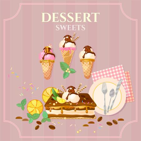 ice cream chocolate: Desserts and sweets cupcake cake ice cream chocolate cream vector illustration Illustration