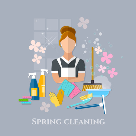spring cleaning: Spring cleaning cleaner housewife cleaning tools Illustration