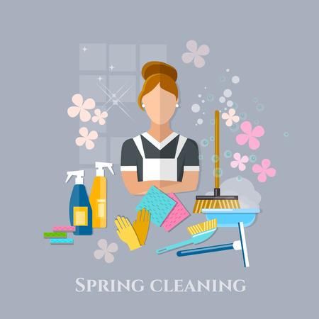 outils de nettoyage nettoyant ménagère de nettoyage de printemps