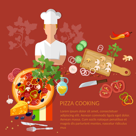 pizza ingredients: Cook pizzeria pizza ingredients on a red background