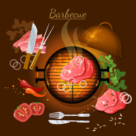 embers: Barbecue top view bbq grill party grilled meat vector illustration Illustration