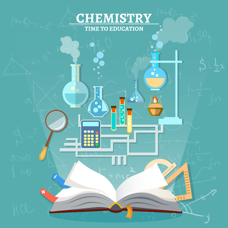 scientific experiment: Education chemistry lesson open book test tube scientific experiment vector illustration Illustration