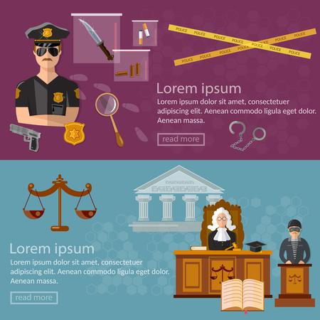 Justice system banner crime and punishment Vektorové ilustrace
