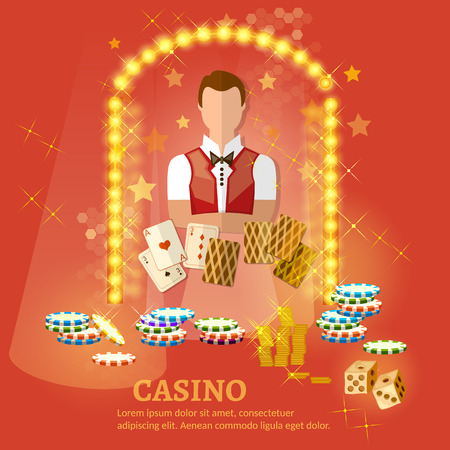 shuffle: Welcome to the casino vector illustration