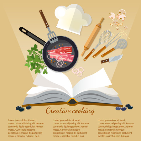 Cookbook creative cooking kitchenware and food flat style