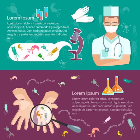 higiene: virus de higiene bandera de investigación médica bajo el microscopio