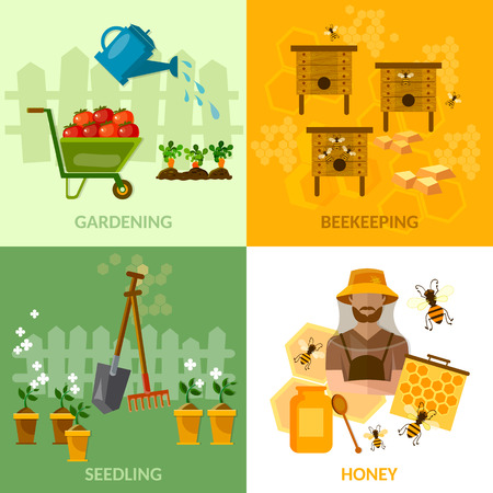 cultivation: Garden set beekeeping honey and bees cultivation vegetables work in the greenhouse