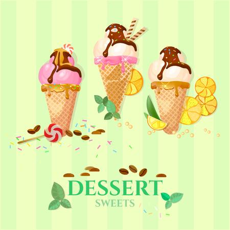 vainilla helado de chocolate y fresa de hielo bolas de crema
