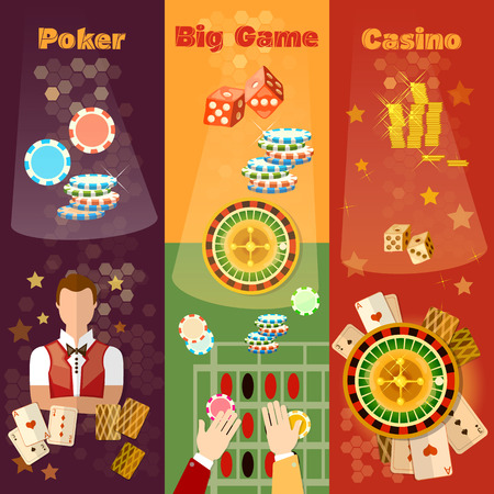 poker game: Casino banner poker game playing cards roulette Illustration