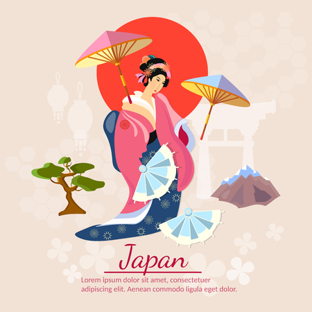 japanese culture: Japanese Geisha Japanese culture and tradition vector illustration Illustration
