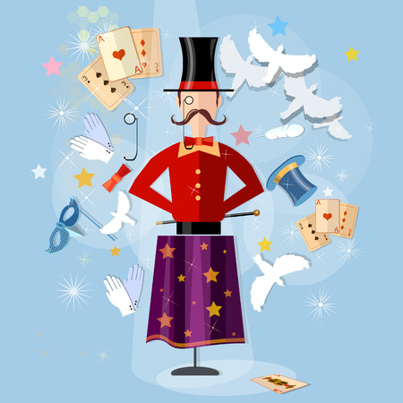 focuses: Magician circus shows tricks focuses vector illustration