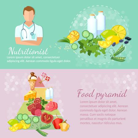 piramide nutricional: dieta dietética de alimentos saludables en nutrición bandera comer bien