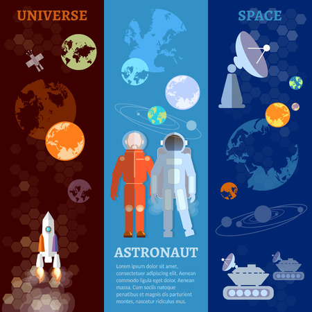 space program: International space program banners astronauts in space vector illustration