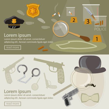 clues: Crime investigation banner detective agency search for clues vector illustration
