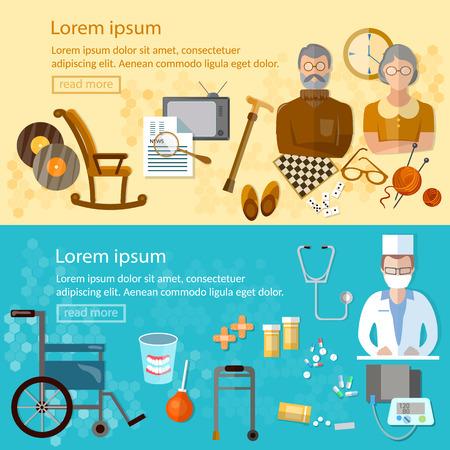 social care: Nursing home banners social care for the elderly retirement home pension hobbies vector illustration Illustration