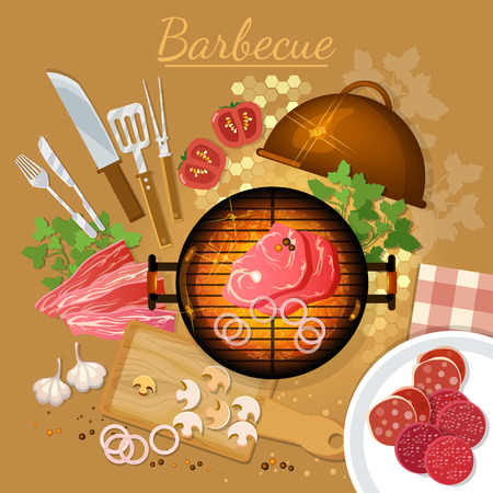 onion rings: Bbq grill party top view grilled meat on the fire vector illustration