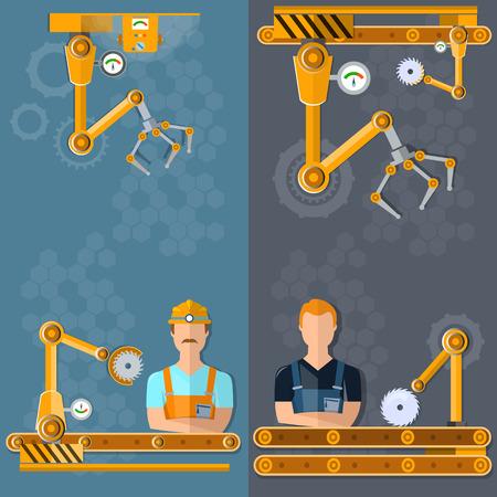spoilage: Conveyor banners automation of labor conveyor belt conveyor operator vector illustration