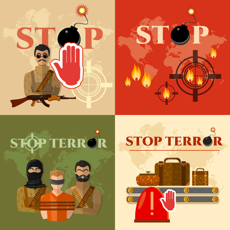 terror: Terrorism set global threat world terror group terrorists vector illustration Illustration