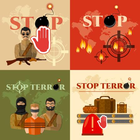 threat: Terrorism set global threat world terror group terrorists vector illustration Illustration