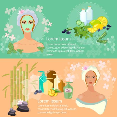 nourishing: Woman face banner skin care nourishing face mask natural cosmetics Illustration