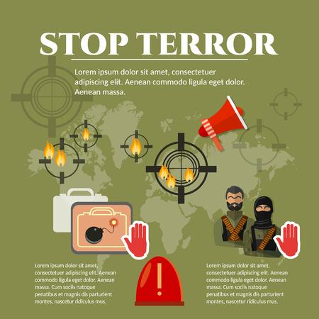 terrorism: Terrorism global threat world terror group terrorists vector illustration