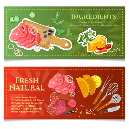 cutting board: Cooking food banner top view meat and vegetables on cutting board Illustration