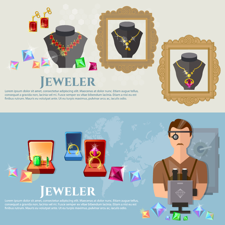 pawn shop: Jewelry banners jeweler at work sale and manufacture of jewelery vector illustration Illustration