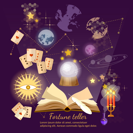 foretell: Fortune teller crystal ball magic book astrology signs vector illustration Illustration