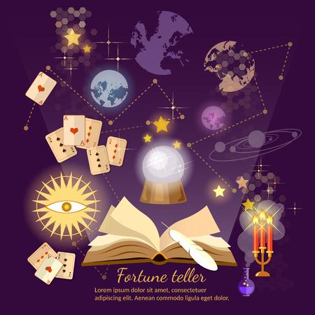 Fortune teller crystal ball magic book astrology signs vector illustration Illustration
