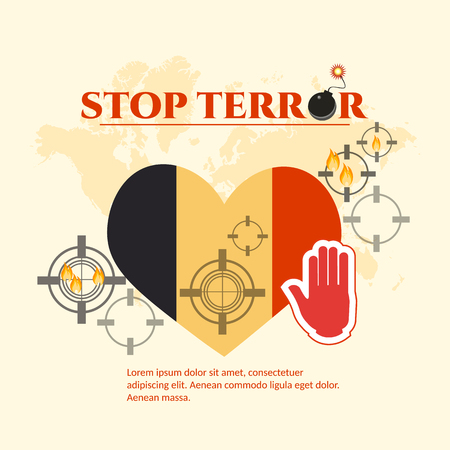terror: Pray for Brussels 22 March 2016. Stop terror. Belgian flag in the shape of heart. Terroristic attacks in Brussels. Illustration