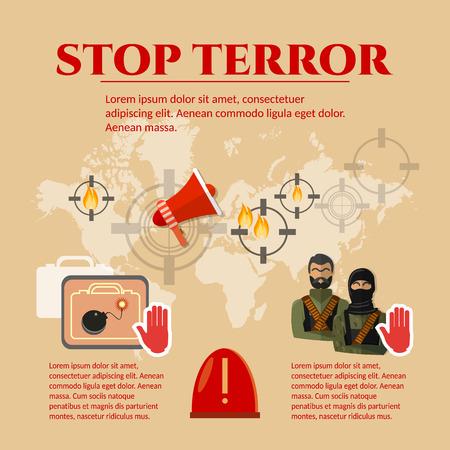 terrorists: Stop terrorism concept global threat world terror group terrorists vector set Illustration