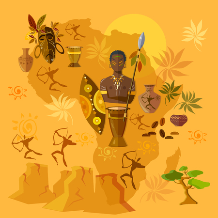 family history: Africa map african tribes culture and history vector illustration Illustration