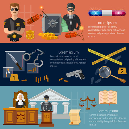 theft proof: Crime and punishment justice system banners criminal trial judge in court vector illustration