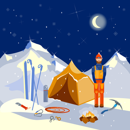 peak hat: Tent in the mountains mountain climbing equipment climber vector illustration