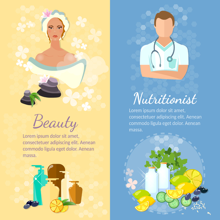 proper: Woman face banner skin care proper nutrition dietetics natural cosmetics vector illustration Illustration