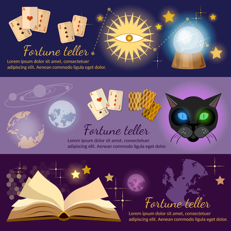parapsychology: Astrology and alchemy banners alchemy magic open book fortune telling vector illustration Illustration
