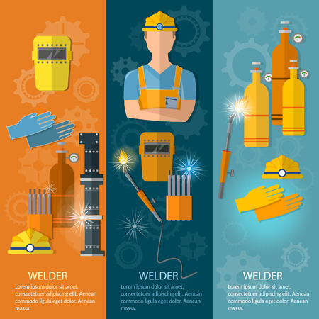 Professional welder banner welding tools and equipment vector illustration Illustration