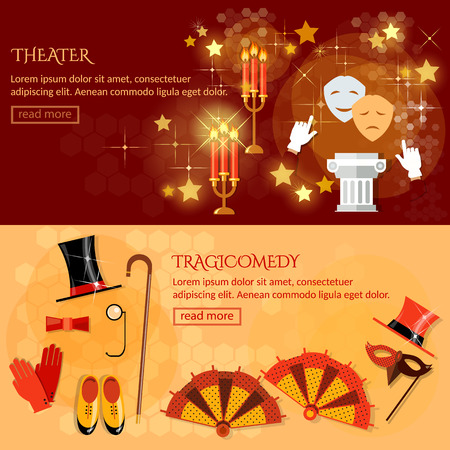 stage costume: Theater banner performance elements ancient columns theater masks play tragicomedy