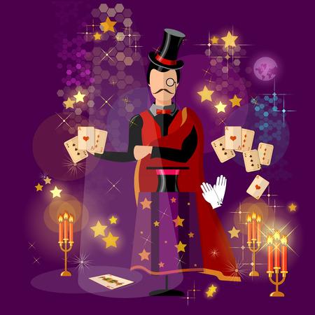 conjurer: Illusionist magician tricks magic card tricks vector illustration Illustration