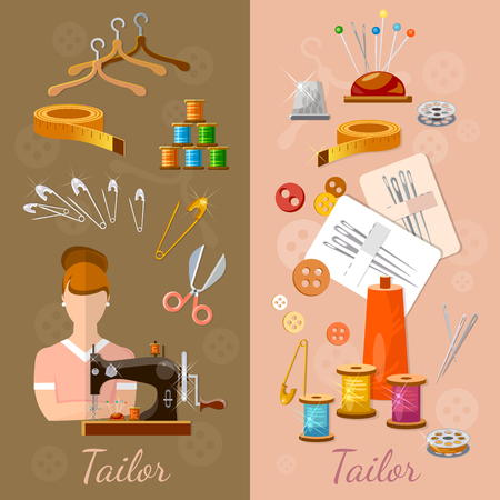 tailored: Seamstress and tailor banners sewing dress sewing machine accessories vector illustration