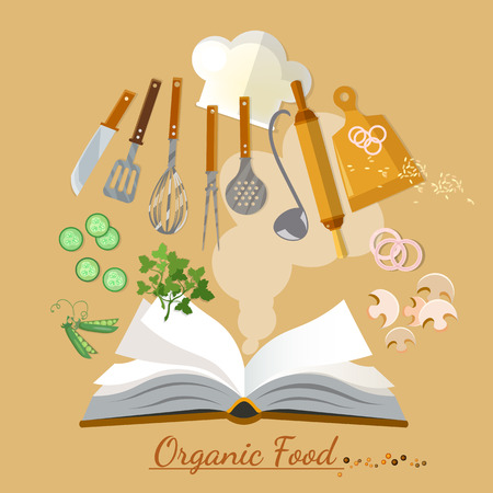 onion rings: Open cookbook kitchenware flat style vector illustration