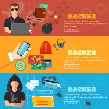 bank account: Hacker horizontal banner virus attack e-mail spam viruses bank account hacking vector illustration