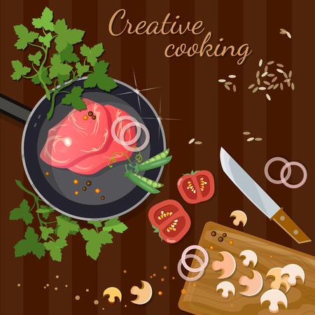 fresh meat: Raw fresh meat on wooden table red meat in a frying pan vector illustration Illustration