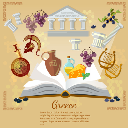 archeology: Ancient Greece and Ancient Rome world history tradition and culture vector illustration