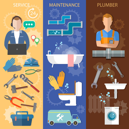 washstand: Professional plumber banners call plumber plumbing and renovation vector illustration