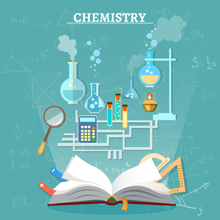 chemistry lesson: Education chemistry lesson open book science experiment vector illustration Illustration