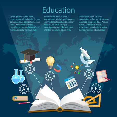 Education background infographics open book of knowledge on world map