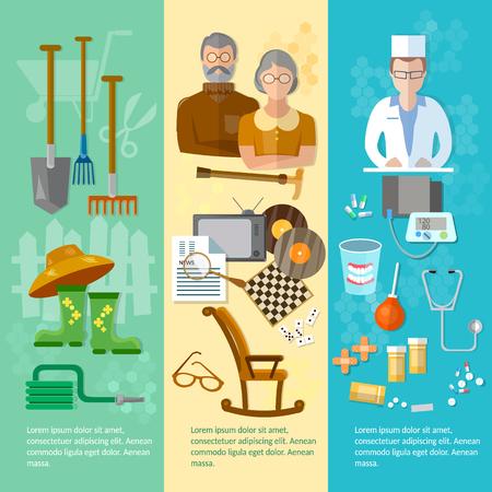 social care: Nursing home banner retired hobby social care and protection of the elderly vector illustration