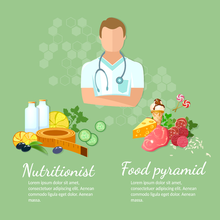 excess: Nutritionist diet and healthy eating vector illustration