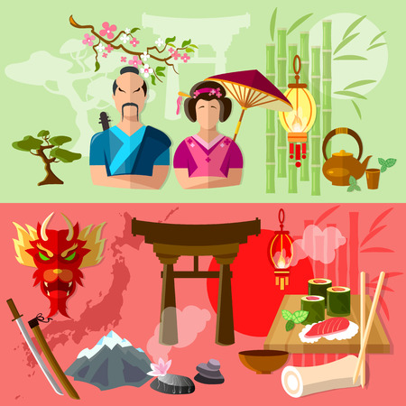 spring roll: Travel to Japan. Japanese tradition and culture vector illustration